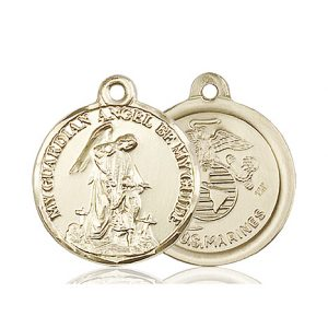 14kt Gold Guardain Angel - Marines Medal