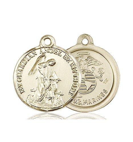14kt Gold Guardain Angel - Marines Medal