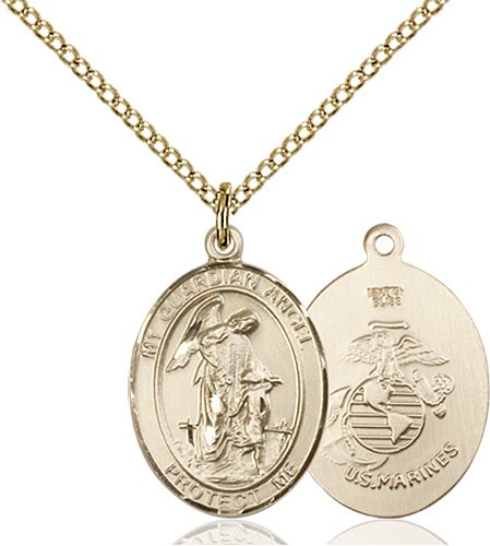 14kt Gold Filled Guardian Angel - Marines Pendant