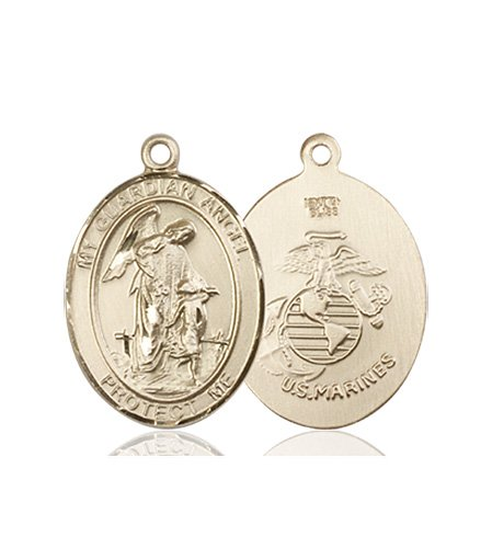 14kt Gold Guardian Angel - Marines Medal