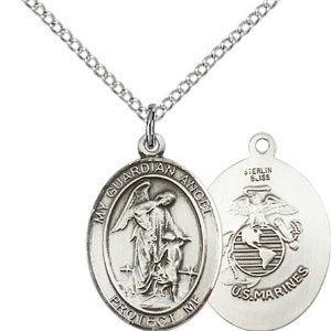 Sterling Silver Guardian Angel - Marines Pendant