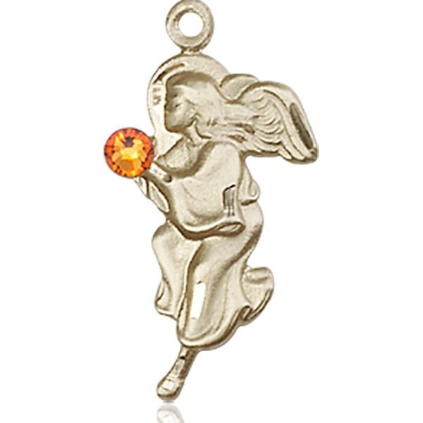 Guardian Angel Medal - November Birthstone - 14 KT Gold #88839