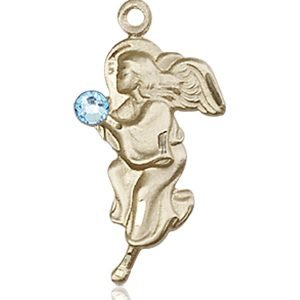 Guardian Angel Medal - March Birthstone - 14 KT Gold #88842