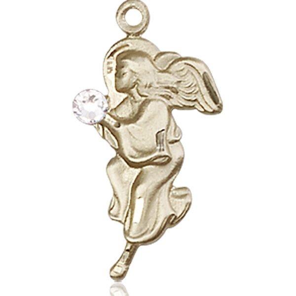 Guardian Angel Medal - April Birthstone - 14 KT Gold #88843