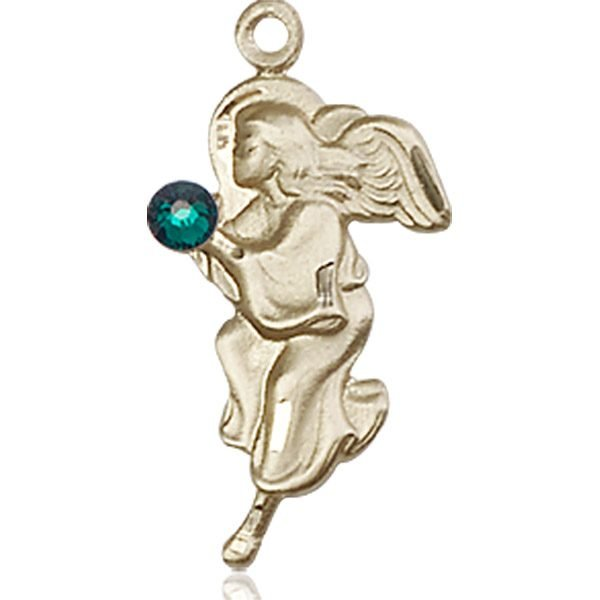 Guardian Angel Medal - May Birthstone - 14 KT Gold #88844