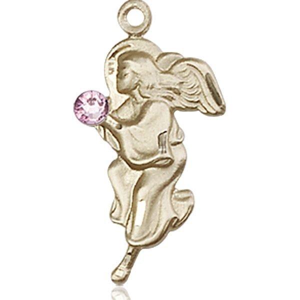 Guardian Angel Medal - June Birthstone - 14 KT Gold #88845