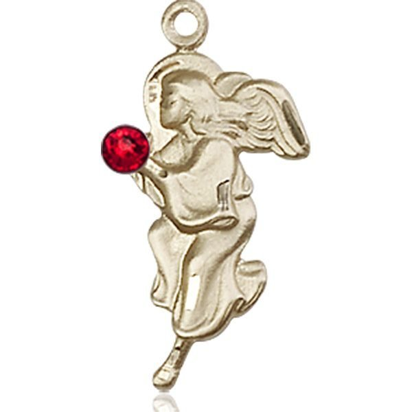 Guardian Angel Medal - July Birthstone - 14 KT Gold #88846