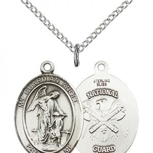 Sterling Silver Guardian Angel - Nat'L Guard Penda