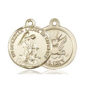 14kt Gold Guardain Angel - Navy Medal