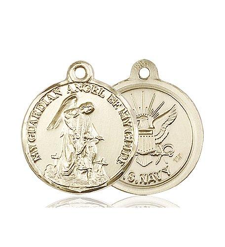 14kt Gold Guardain Angel - Navy Medal