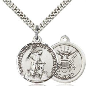 Sterling Silver Guardain Angel - Navy Pendant