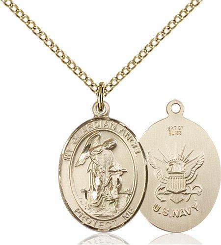 14kt Gold Filled Guardian Angel - Navy Pendant