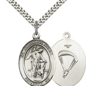 Sterling Silver Guardian Angel - Paratrooper Pendant
