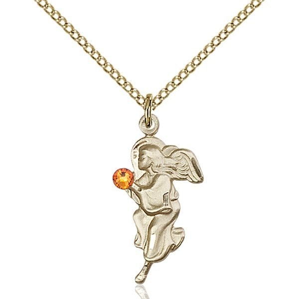 Guardian Angel Pendant - November Birthstone - Gold Filled #88827