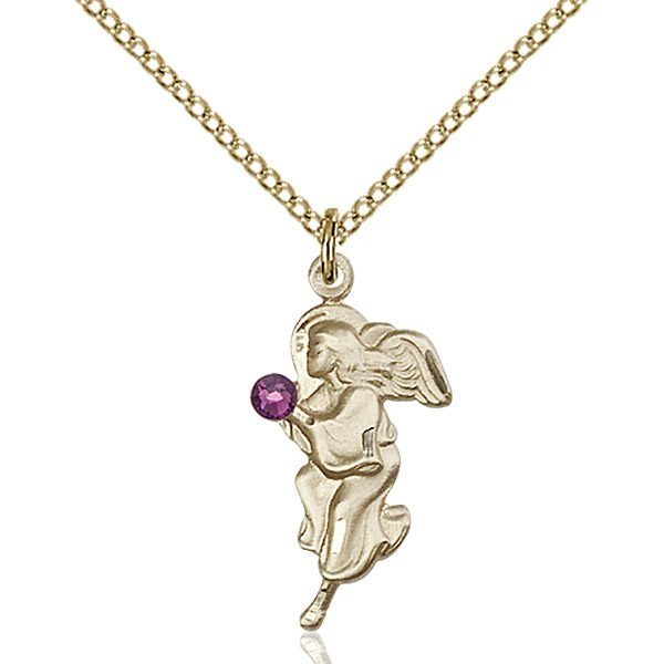 Guardian Angel Pendant - February Birthstone - Gold Filled #88829