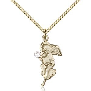 Guardian Angel Pendant - April Birthstone - Gold Filled #88831