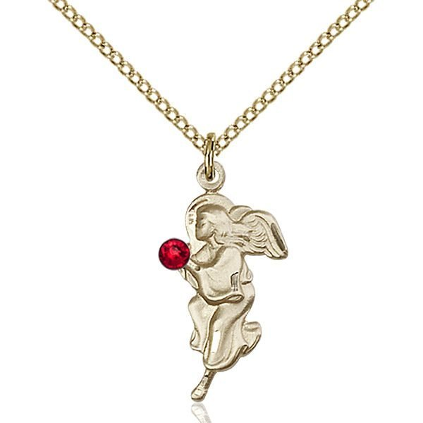 Guardian Angel Pendant - July Birthstone - Gold Filled #88834