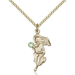 Guardian Angel Pendant - August Birthstone - Gold Filled #88835