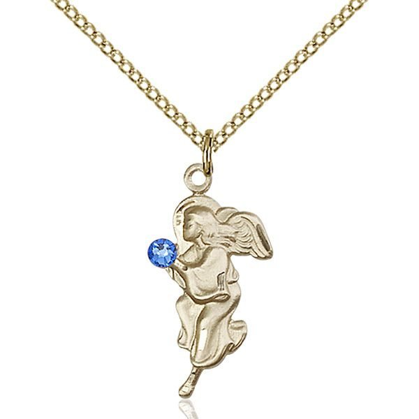 Guardian Angel Pendant - September Birthstone - Gold Filled #88836