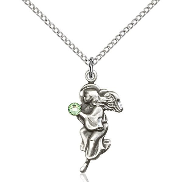 Guardian Angel Pendant - August Birthstone - Sterling Silver #88859