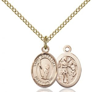 Gold Filled St. Sebastian/Gymnastics Pendant