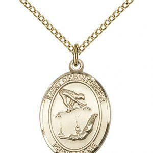 Gold Filled St Christopher / Gymnastics Pendant