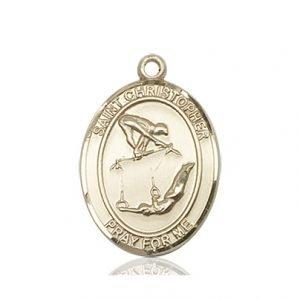 14kt Gold St Christopher / Gymnastics Medal