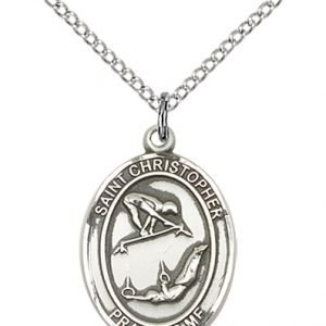 Sterling Silver St Christopher / Gymnastics Pendant