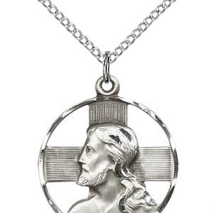 Sterling Silver Head of Christ Necklace #87624