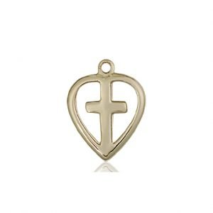 14kt Gold Heart - Cross Medal #87406