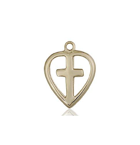 14kt Gold Heart - Cross Medal #87406