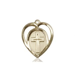 14kt Gold Heart - Cross Medal #87587