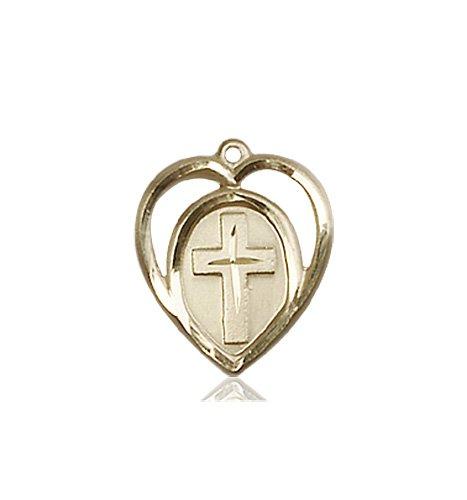 14kt Gold Heart - Cross Medal #87587