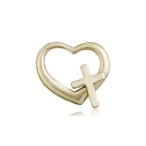 14kt Gold Heart - Cross Medal #87615