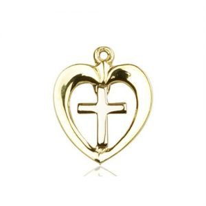 Heart / Cross Medal - 14 KT Gold (#87626)