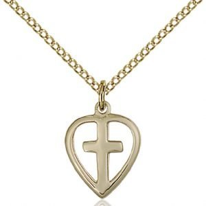 Gold Filled Heart - Cross Necklace #87404