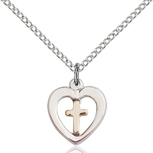 Two-Tone GF - SS Heart - Cross Necklace #87566