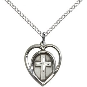 Sterling Silver Heart - Cross Necklace #87588