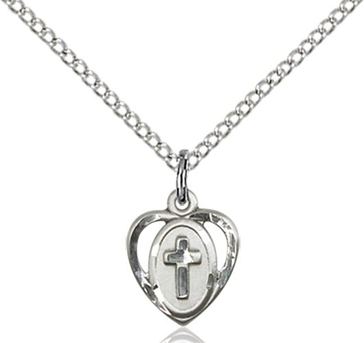 Sterling Silver Heart - Cross Necklace #87655