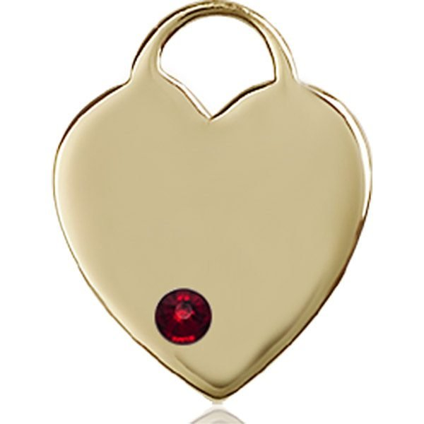 Heart Medal - January Birthstone - 14 KT Gold #88637