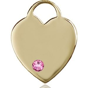 Heart Medal - October Birthstone - 14 KT Gold #88638