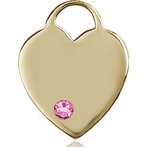 Heart Medal - October Birthstone - 14 KT Gold #88638