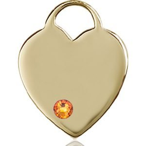 Heart Medal - November Birthstone - 14 KT Gold #88639