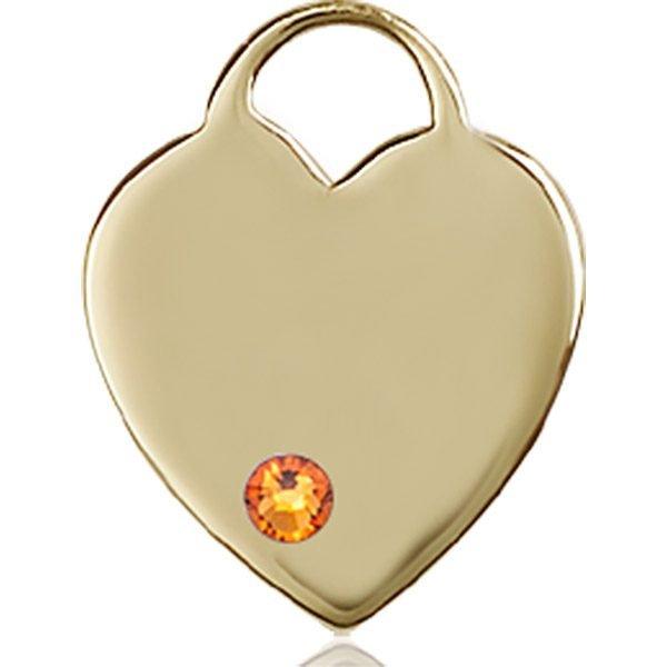 Heart Medal - November Birthstone - 14 KT Gold #88639