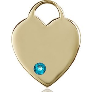 Heart Medal - December Birthstone - 14 KT Gold #88640