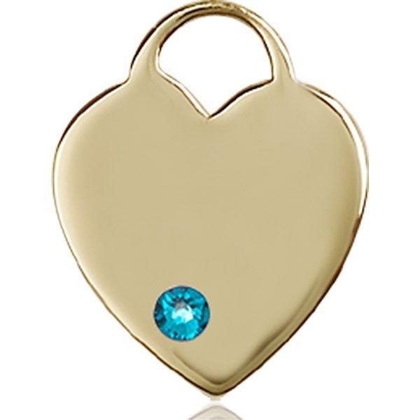 Heart Medal - December Birthstone - 14 KT Gold #88640