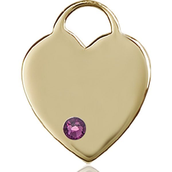 Heart Medal - February Birthstone - 14 KT Gold #88641