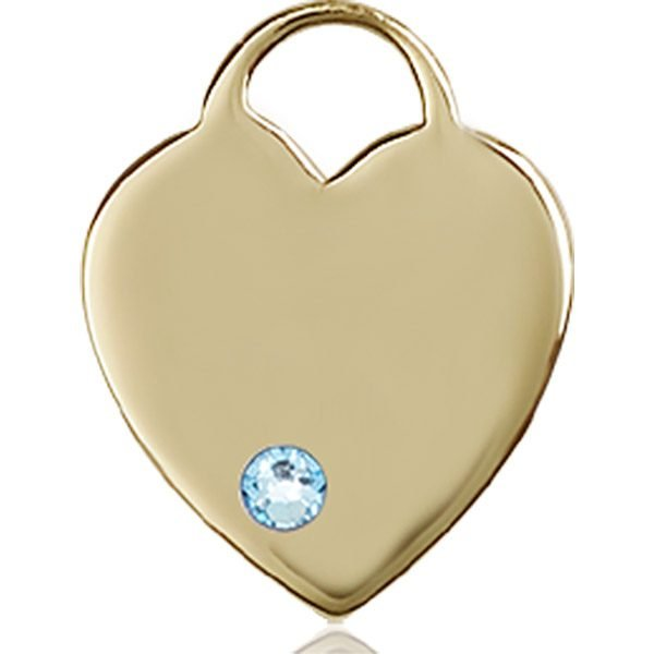 Heart Medal - March Birthstone - 14 KT Gold #88642