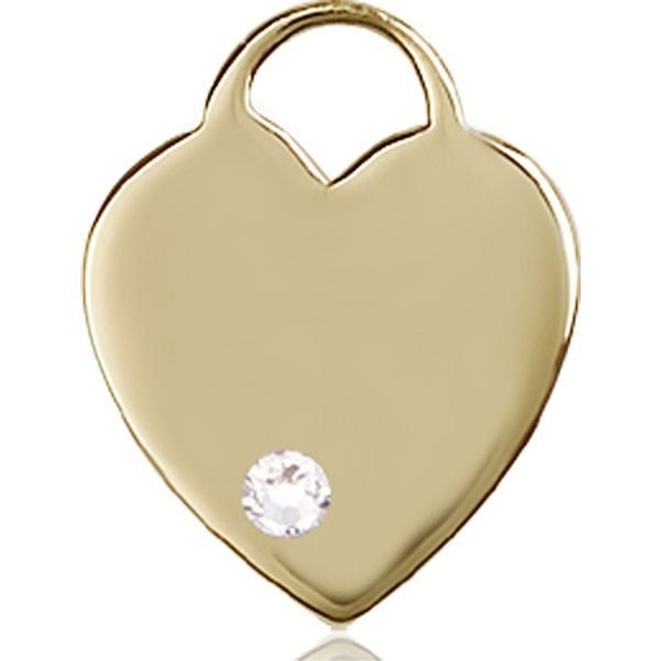Heart Medal - April Birthstone - 14 KT Gold #88643