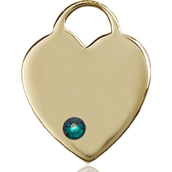 Heart Medal - May Birthstone - 14 KT Gold #88644